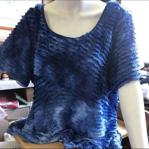 Blue Ombré Ruffled Blouse